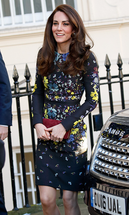 <p>The Duchess dazzled in Erdem's Tess floral-print stretch-ponte dress, featuring pops of complementary neon yellow to attend a meeting for her mental health initiative Heads Together in January 2017.