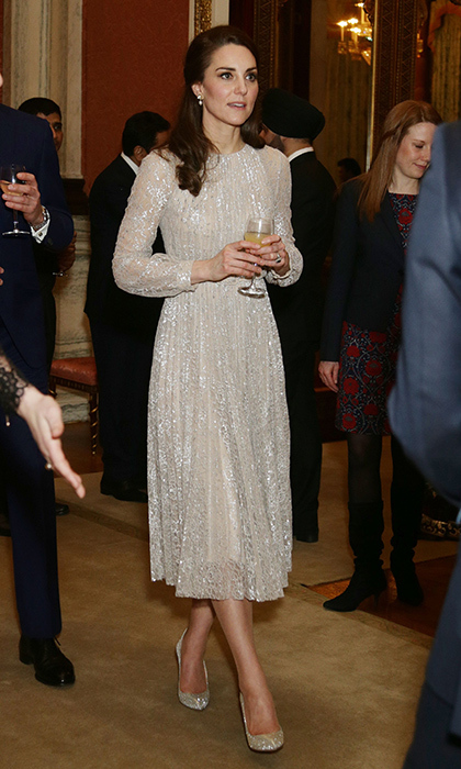 <p>The Duchess of Cambridge was the picture of elegance at a reception for the UK-India Year of Culture. She wore a gorgeous cream Erdem gown at Buckingham Palace in February 2017. The perfect winter ensemble!