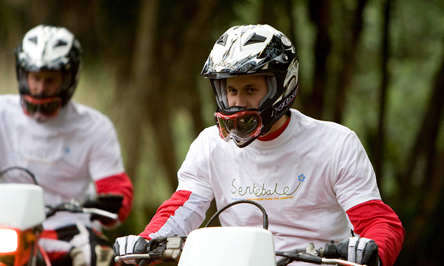 <p>Prince William and Prince Harry take part in a charity ride across Africa for Harry's charity, Sentebale, in 2008.</p>