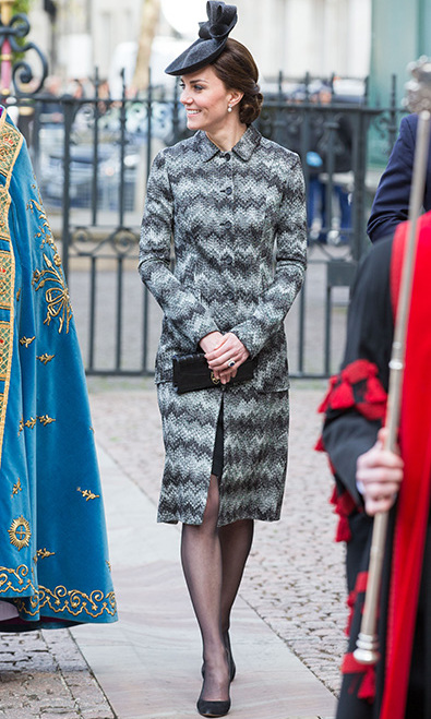 On 5 April, mother to Prince George and Princess Charlotte wore a daring choice of outerwear- a Missoni long-line coat that featured a bold, zig-zag pattern. The Duchess favours striking hues as opposed to patterns typically, so this fashion choice was a welcome change and suited her slim physique.
