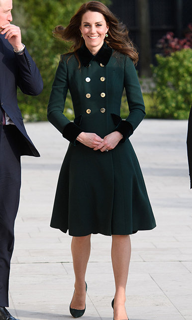 Looking suitably stylish in bottle green, The Duchess opted for a bespoke Catherine Walker design as she visited France for two days during March 2017. The striking coat proved to be an eye-catching piece, particularly with the over-sized velvet collar and cuffs. She added co-ordinating bottle green shoes and a crocodile textured clutch.