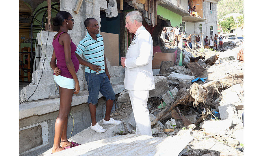 On November 19, the Prince of Wales visited Pointe Michel on the island of Dominica to tour the village, observing the devastation left in the wake of Hurricane Maria. The Prince spoke with locals and also the Prime Minister, Roosevelt Skerrit.