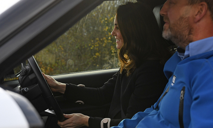 Buckle up! Catherine, Duchess of Cambridge got behind the wheel of a Land Rover Discovery for an off-road driving experience during a visit to Jaguar Land Rover's Solihull manufacturing plant in Birmingham, England on November 22. The revved-up opportunity was part of a day of activities in the city with husband Prince William.
