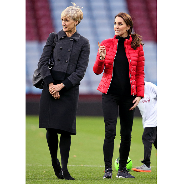 Also during the Birmingham visit, the Duchess was joined by her new right-hand woman, her Private Secretary Catherine Quinn. Ms Quinn was at the royal's side to check out the youth soccer scene at Aston Villa Football Club, seeing first-hand the work of the Coach Core program. 