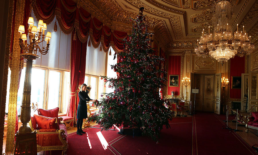 A 15ft tree has also been erected in the Crimson Drawing Room.