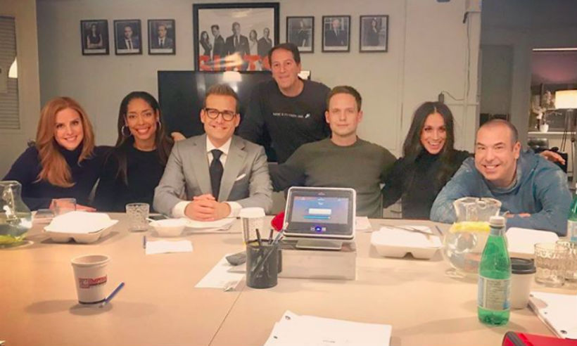 <p>Meghan Markle posed with her fellow Suits cast members for the last time before wrapping up filming Season 8. The actress finished filming around the 16 November, when her character, Rachel Zane, married Patrick J Adams' character, Mike Ross.