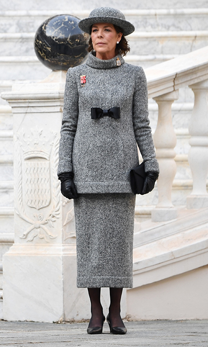 Also exuding classic style was Charlotte's mom Princess Caroline, who wore a grey tweed Chanel ensemble, designed by best friend Karl Lagerfeld for the fashion house's fall 2017 haute couture collection. We especially love the black bow detail.
