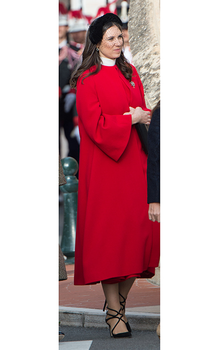 Three's a trend? Tatiana Casiraghi – married to Princess Caroline's son Andrea Casiraghi – also went for a retro vibe, with a velvet 1950s-style half hat with veil, and a bright red midi-length swing coat. 