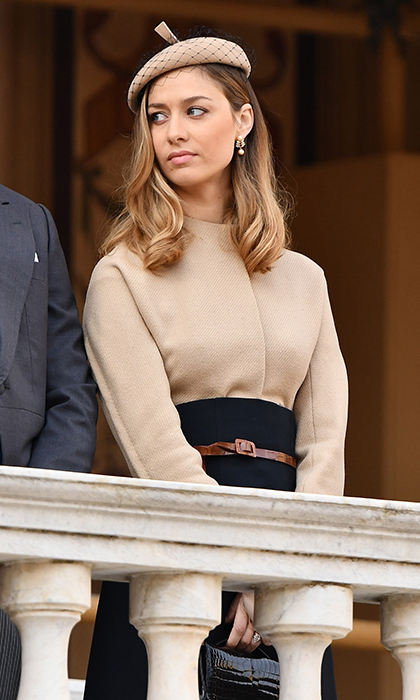 Rounding out the classic throwback styles was Beatrice Borromeo, whose husband is Princess Caroline's younger son Pierre Casiraghi. The Italian journalist looked like a silver screen leading lady wearing a two-toned skirt suit and veiled beret from Christian Dior's fall 2017 haute couture collection, inspired by the brand's 70th anniversary. 
