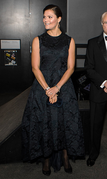 Sweden's future queen, Crown Princess Victoria, wore a fit and flare dress from the H&amp;M Conscious collection as she stepped out with her parents King Carl XVI Gustaf and Queen Silvia for the Knut and Alice Wallenberg Foundation's centenary celebrations in Stockholm on November 14.