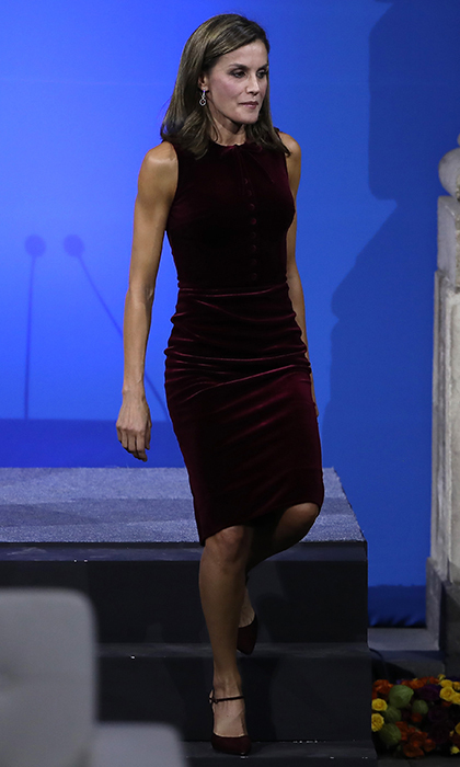 Velvet is one of the season's hottest trends – just ask Queen Letizia of Spain, who wore this burgundy velvet Felipe Varela dress on November 14. The royal was attending the World Cancer Leaders' Summit during her visit to Mexico City on November 14.