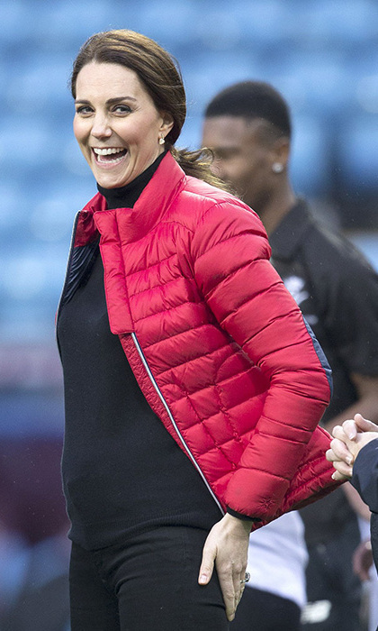 <p>The Duchess looked casual and chic for a sporty Nov 22 engagement in a red Puffa jacket. She and Prince William were on a visit to Birmingham, where they stopped at the Aston Villa Football Club. The royal couple saw the work of the Coach Core program and met with the representatives.