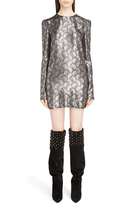 "<b>Saint Laurent Metallic Jacquard Shift Dress</b>, $2,644.35, <a href=""https://shop.nordstrom.com/s/saint-laurent-metallic-jacquard-shift-dress/4775038"">shop.nordstrom.com</a>"