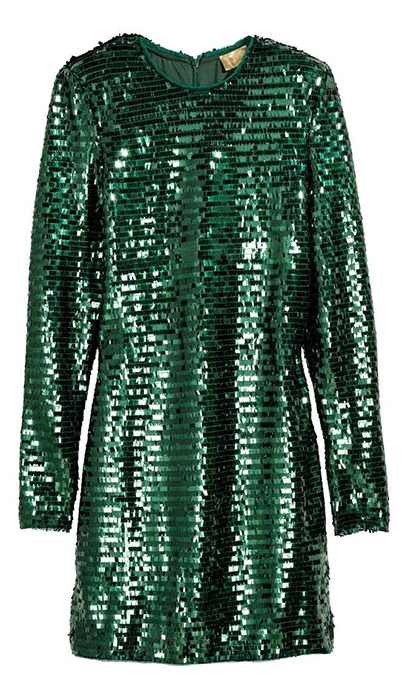 "<b>Emerald Green Sequinned Dress</b>, $99, <a href=""http://www2.hm.com/en_ca/productpage.0574682001.html"">hm.com</a>"