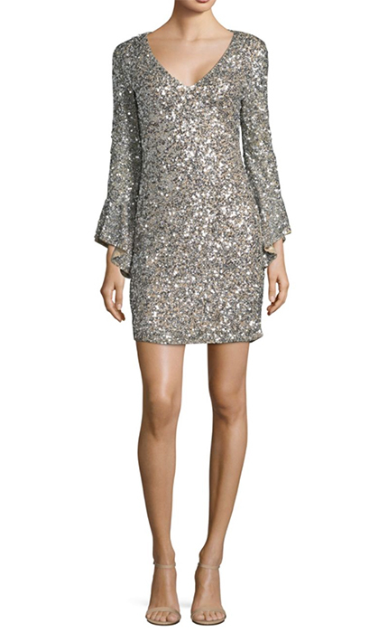 "<b>Parker Black Rachael Sequin Bell Sleeve Dress</b>, $725, <a href=""https://www.saksfifthavenue.com/main/ProductDetail.jsp?PRODUCT%3C%3Eprd_id=845524447170001&site_refer=CSE_INTL_GGLPRADS001_CA&gclid=CjwKCAiA9f7QBRBpEiwApLGUijZI6cvYUGOTQ2XOlhE_EtxIqiLrWyWkWsH2_cUUoEzZsbWhEJD93hoCbFMQAvD_BwE&gclsrc=aw.ds"">saksfifthavenue.com</a>"