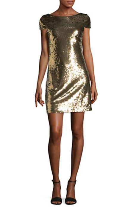 "<b>Sam Edelman Sequin Scoop Back Dress</b>, $168, <a href=""http://www.thebay.com/webapp/wcs/stores/servlet/en/thebay/sequin-scoop-back-dress-0600089614975--24""><i>thebay.com</i></a>"