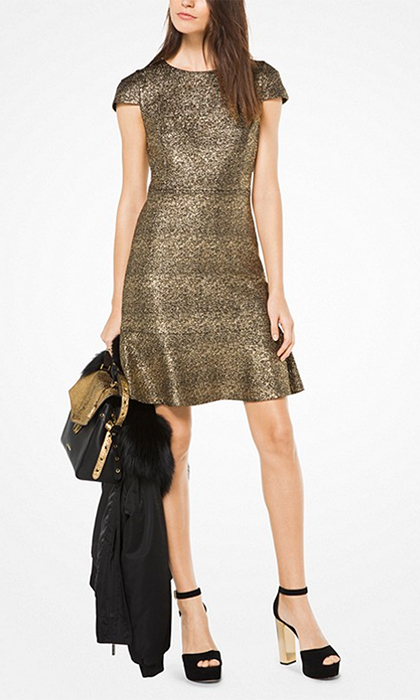 "<b>Metallic Foil Print Dress</b>, $195, <a href=""https://www.michaelkors.ca/product/metallic-foil-print-dress/_/R-CA_MH78XN084C?colorExplode=true&skuId=126286712&ecid=MKC_Google_CAEN&gclid=CjwKCAiA9f7QBRBpEiwApLGUiijyRqd0PgYj8crZbUrvJJHnb3dRfYwC9xkvV9GH-BLUY514ifxOfRoCWU0QAvD_BwE&gclsrc=aw.ds"">michaelkors.ca</a>"