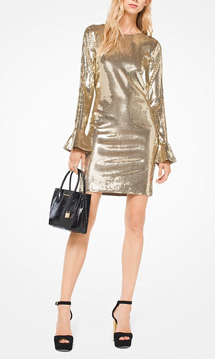 "<b>Sequined Bell-Cuff Dress</b>, $295, <a href=""https://www.saksfifthavenue.com/main/ProductDetail.jsp?PRODUCT%3C%3Eprd_id=845524447159307&site_refer=CSE_INTL_GGLPRADS001_CA&gclid=CjwKCAiA9f7QBRBpEiwApLGUisb4nPkyRMWK2P06E5IeHT9k1cHQwdtE7ZTibKOImPM1-F9NjnBVJxoCe-IQAvD_BwE&gclsrc=aw.ds"">michaelkors.ca</a>"
