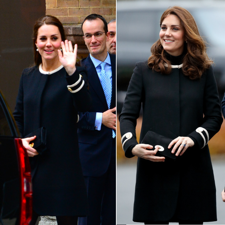 Kate sourced another piece from the maternity section in her wardrobe for a visit to Birmingham in November 2017. The duchess wore the same black and white Goat coat that she was spotted in while pregnant with Princess Charlotte in 2014 (L). 