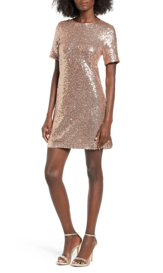 "<b>Sequin T-Shirt Dress</b>, $87, <a href=""https://shop.nordstrom.com/s/soprano-sequin-t-shirt-dress/4475008?contextualcategoryid=2375500&origin=keywordsearch&keyword=sequin"" target=""_blank"">nordstrom.com</a>"