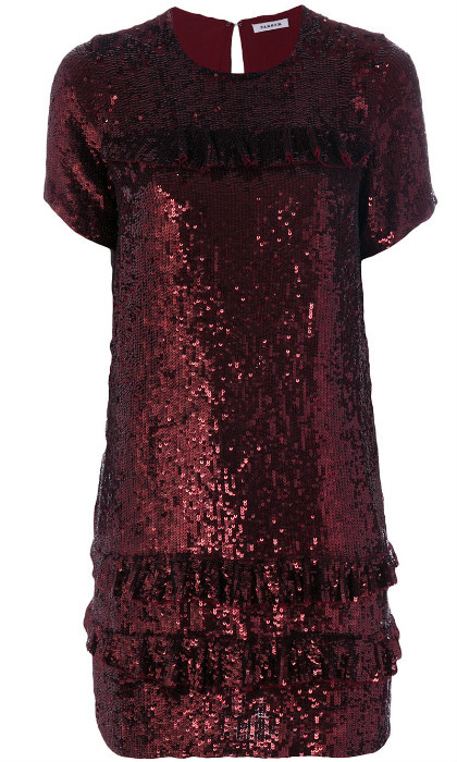 "<b>P.A.R.O.S.H. Gathered Sequin Dress</b>, $794, <a href=""https://www.farfetch.com/ca/shopping/women/p-a-r-o-s-h--gathered-sequin-dress-item-12300674.aspx?storeid=9383&from=search"" target=""_blank"">farfetch.com</a>"