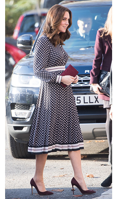 On November 28, the Duchess of Cambridge wore a dress by Kate Spade for an official engagement to the Foundling Museum in central London. Accessorizing with Gianvito Rossi heels and a Mulberry clutch, the pregnant royal turned heads in the vibrant diamond print pleated dress, which is set to hit stores in December.