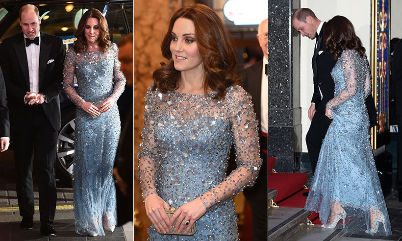 Duchess Kate looked typically stunning on November 24 as she attended the Royal Variety Performance at the Palladium Theatre in London accompanied by her husband Prince William. The mom-to-be was radiant in a stunning bespoke ice blue Jenny Packham gown, accessorizing the sparkling dress with her Oscar de la Renta heels.
