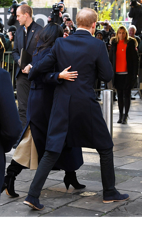 "Harry and Meghan, who are due to marry in May, didn't hesitate to show their affection for each other as they walked through Nottingham. ""We're two people who are really happy and in love,"" Meghan famously said in the summer.