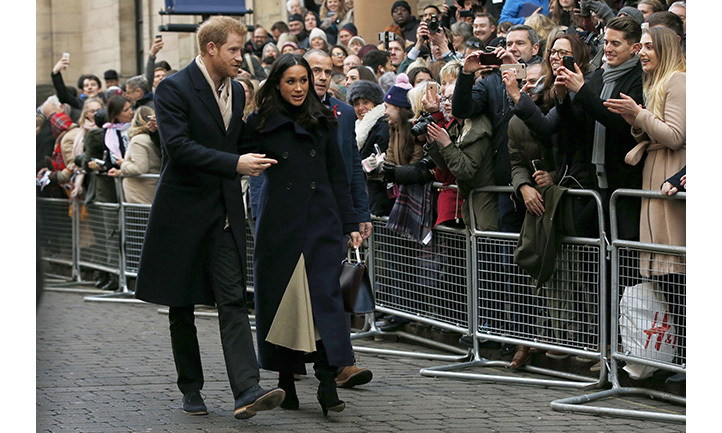 "Hundreds of people had lined the streets in the hope of catching a glimpse of the engaged couple. Members of the crowd chanted ""Harry, Harry"" and ""Meghan, Meghan"" as they walked past Nottingham well-wishers."