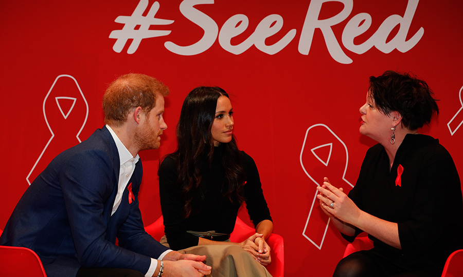 Harry and Meghan chatted with HIV consultant doctor Laura Waters at the Terrence Higgins Trust World AIDS Day event. 