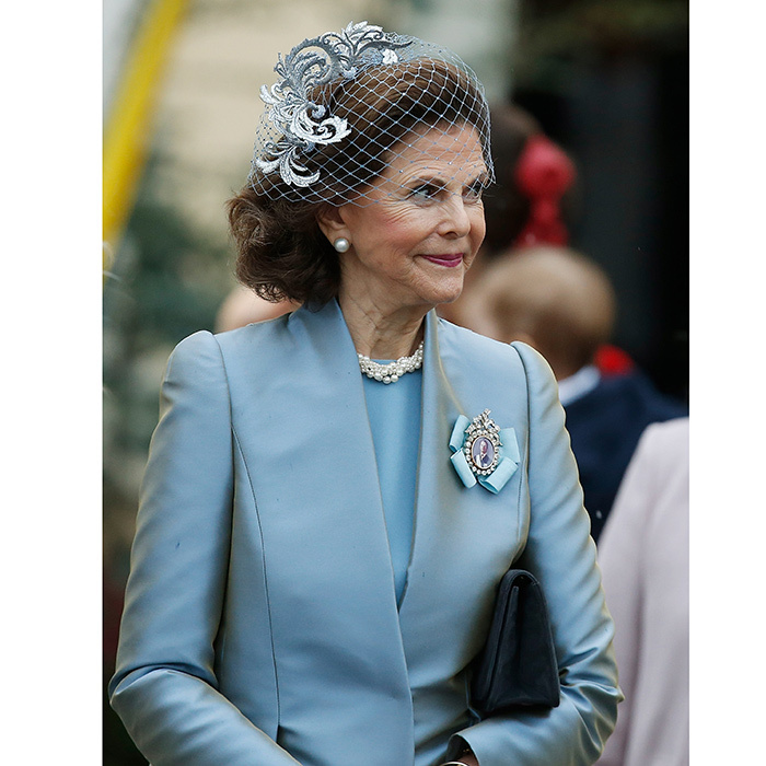 Gabriel's grandmother, Queen Silvia of Sweden, was elegant in pale blue, with a delicate fascinator and veil. The queen consort and King Carl XVI Gustaf have six grandchildren under the age of six, with another on the way!