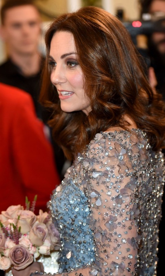<p>A lot shorter than normal it is obvious here Duchess Kate has undergone a haircut leaving her hair looking shiny and pristine. The thick bouncy curls are very noticeable in this style she wore to the Royal Variety Performance at the Palladium Theatre last month.</p>