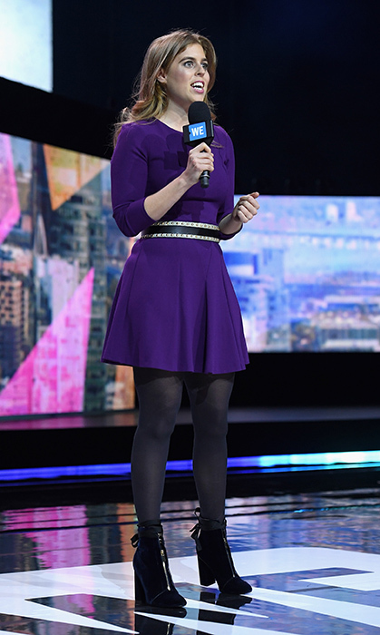 <p>Princess Beatrice demonstrated how you can also let velvet accessories do the talking &ndash;&nbsp;and walking! Queen Elizabeth's granddaughter wore cool purple velvet zip-front boots to WE Day New York at Radio City Music Hall in April 2017.&nbsp;</p>