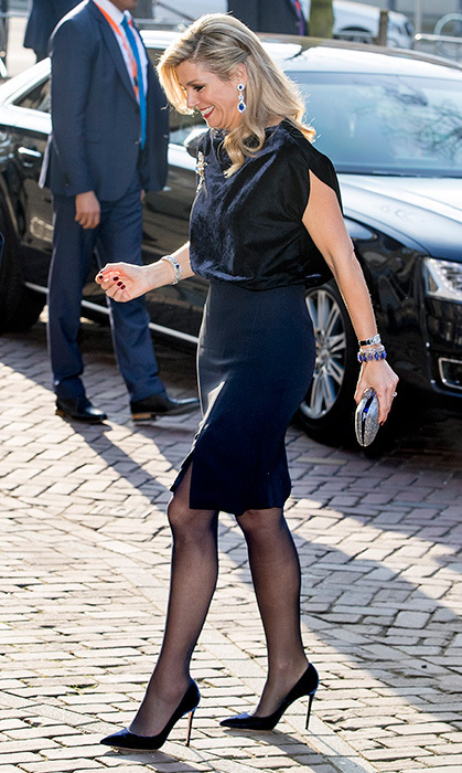 <p>Here's a great way to add texture to a simple skirt. Queen Maxima of the Netherlands was standing tall in stilettos and a pencil skirt for an evening at the ballet with Argentina's President Mauricio Macri and his wife Juliana Awada in March 2017 in The Hague. What makes the outfit, though, is the royal's velvet top combined with sparkling jewels.</p>