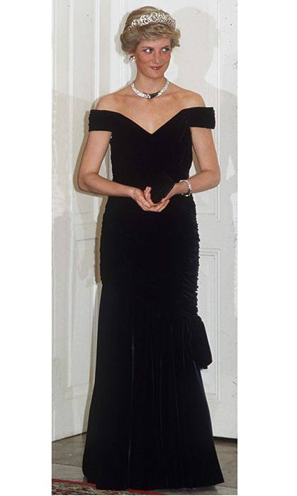 <p>Another iconic Diana look in velvet by Victor Edelstein, which the royal donned for a trip to Germany in 1987. The gown is known as 'The Travolta dress' because Diana also wore it when she famously took to the dance floor with the&nbsp;<em>Saturday Night Fever</em>&nbsp;star at a White House party in 1985.</p>