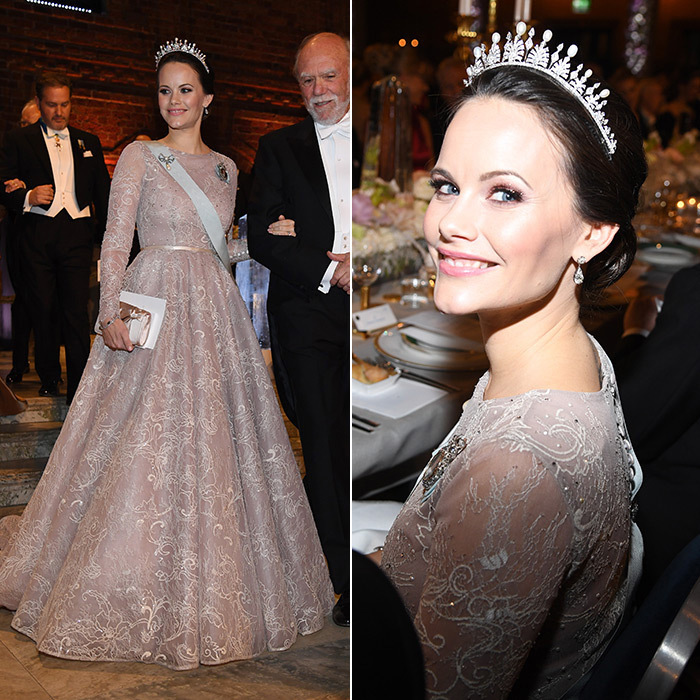 Princess Sofia wore a pale pink embroidered Ida Lanto gown and her wedding tiara. While the piece featured emeralds on the former model's wedding day, for the Nobel gala the colorful gems had been replaced with classic pearls. The tiara was a gift from Sofia's in-laws, King Carl XVI Gustaf and Queen Silvia.