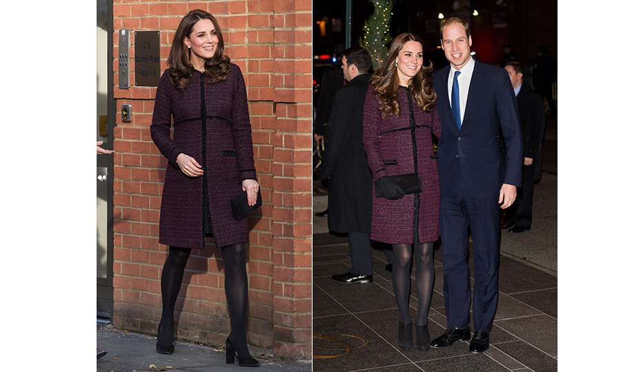 At first glance it looked like the Duchess of Cambridge recycled a head-to-toe look to attend a children's party in North Kensington on Dec 12. Kate first wore this plum Seraphine coat, black tights and clutch ensemble during a visit to New York with Prince William in 2014 (R). A closer inspection reveals that the expectant mother swapped her black ankle booties for a pair of power pumps and her drop earrings for diamond studs. 