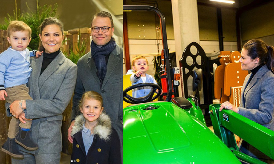 During the Crown Princess family's visit to the Sweden International Horse Show on December 2, Prince Oscar enjoyed some playtime on a green tractor. Crown Princess Victoria carefully watched her adorable son as he pointed something out to her in the distance. After the fun moment, Victoria and Oscar posed with Prince Daniel and Princess Estelle for a sweet family photo.