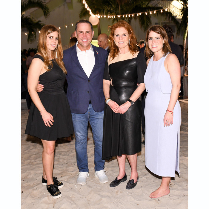Sarah, Duchess of York and her daughters Princesses Beatrice and Eugenie met Miami Beach Mayor Philip Levine during the Hauser & Wirth Art Basel party at The Beach Club of 1 Hotel South Beach. The younger daughter or Sarah and Prince Andrew, who works for the power art firm, opted to go barefoot at the beach-side event.