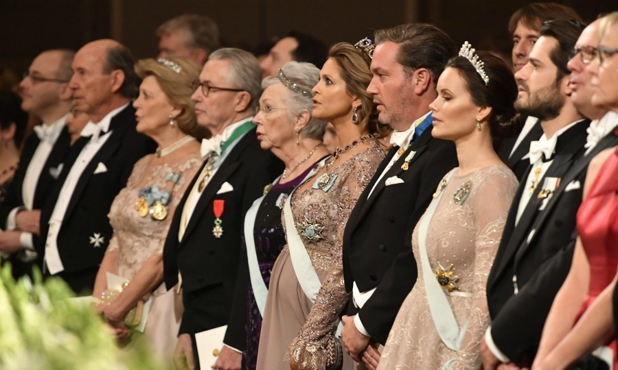 The Nobel Prize Award Ceremony was a royal affair as Sweden's top family stepped out for the important event. Pictured here: Tord Magnuson, Princess Birgitta, Princess Madeleine and her husband Christopher O'Neill, and Princess Sofia and her husband Prince Carl Phillip at the Stockholm Concert Hall on December 10 in Sweden. The Nobel Prizes for medicine, physics, chemistry, literature and economics are all awarded in the country.