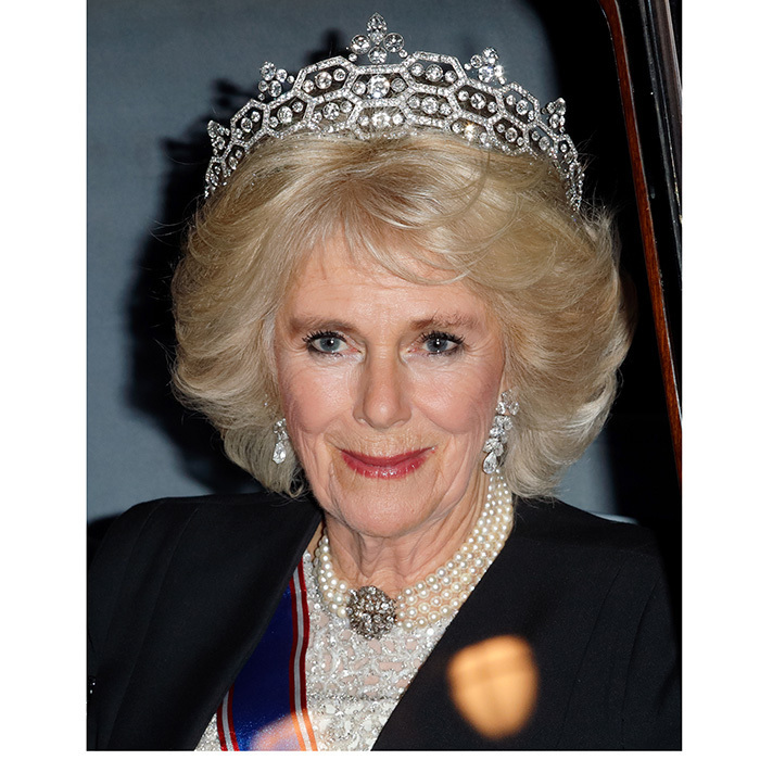 'Tis the season for tiaras! Duchess Camilla stunned in diamonds for the annual Diplomatic Reception at Buckingham Palace on December 5. Prince Charles's wife wore the 1920s-era honeycomb Greville tiara for the evening out. 