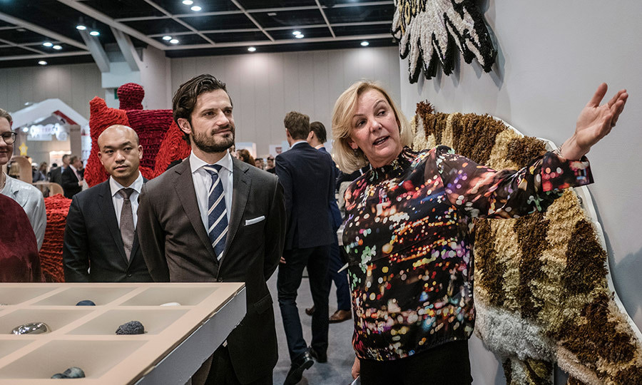 Prince Carl Philip of Sweden, partner in designer firm Bernadotte & Kylberg, indulged his artistic side with a visit to the Swedish Pavilion at Business of Design Week in Hong Kong on December 7.