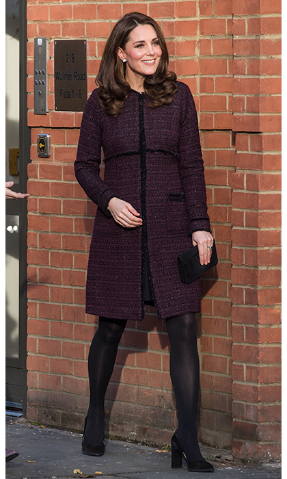 Currently expecting her third child, Kate is keeping her signature style in tact as she adapts to her growing figure. Here are the latest looks from her wardrobe as we follow her fashion throughout her pregnancy. 