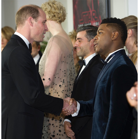 Prince William shook hands with <i>Star Wars</i> cast member John Boyedo, who plays Finn.