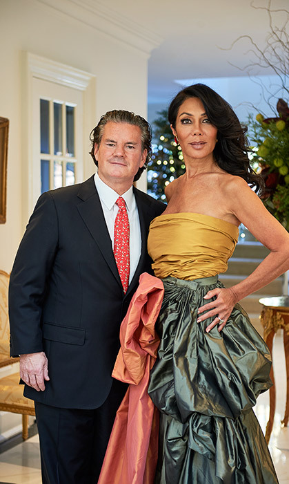 <p>Stephen says he chased Ann (in Oscar de la Renta with custom bow) for 18 months before she agreed to a first date: 'She was a combination of beauty, brains and kindness, which is a triple threat you rarely see in the human genome,' says the former hockey player.