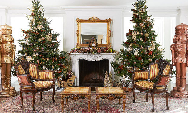 Ann Kaplan Mulholland's home, decorated with two Christmas trees and a few nutcracker statues.
