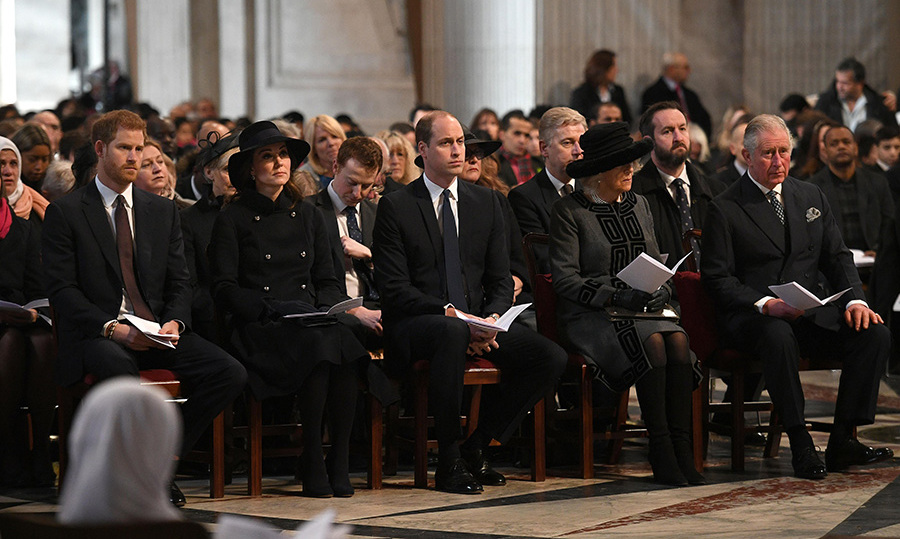 Prince Harry, the Duchess of Cambridge, Prince William, the Duchess of Cornwall and Prince Charles attend the Grenfell Memorial service at St Paul's.