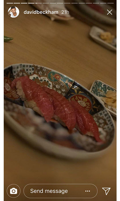 <p>David Beckham shared a photo of his sushi at The Araki.</p>