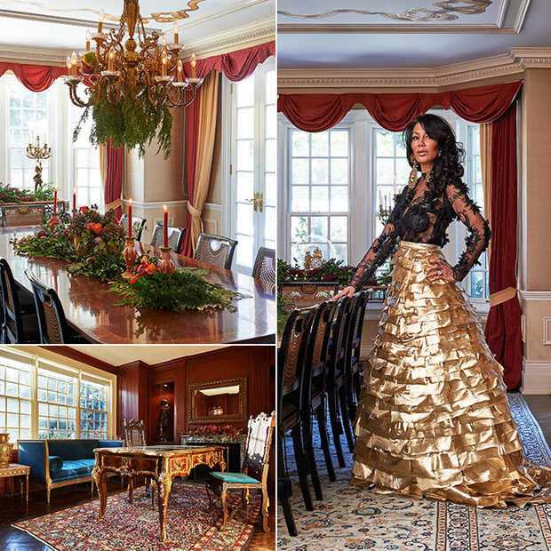 Ann Kaplan Mulholland in a gold skirt in her dining room. Also included is a picture of the study.