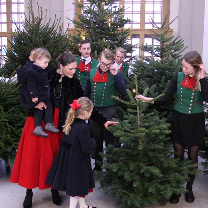 <p>Crown Princess Victoria of Sweden had two special elves help welcome Stockholm Royal Palace's Christmas trees on December 14. The future Queen was joined by her young children — Princess Estelle, five, and Prince Oscar, one.</p> 